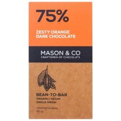 75% Zesty Orange Dark Chocolate 60 gms (Vegan)