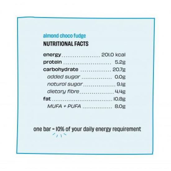 Almond Choco Fudge Energy Bar 40 gms (Gluten-Free, Vegan)