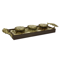 Dryfruit Gift Hamper Tray with 3 Glass Jar