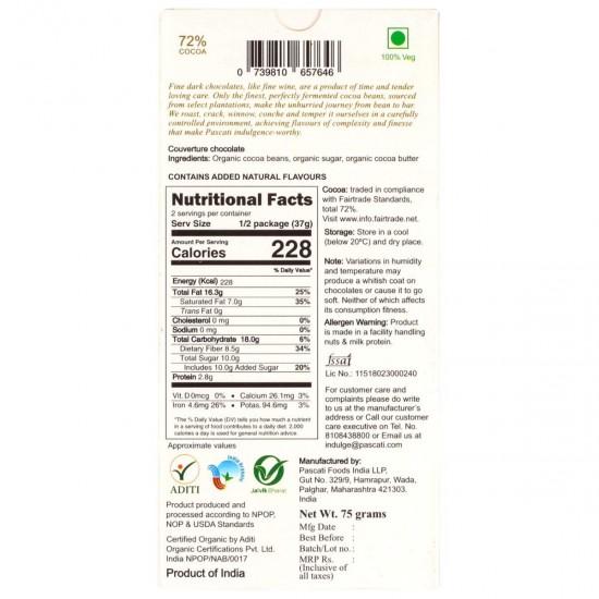 72% Dark Idukki Single Origin Organic Chocolate 75 gms (Gluten-Free, Vegan)
