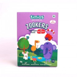 Zookers Animal Shaped Biscuits with Apple and Blueberry Bits 150 gms