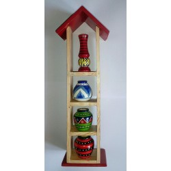 Wooden Multi Coloured Pot House Single Row Toy for
