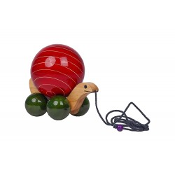 Wooden Tortoise with Rotating Ball Toy for Kids
