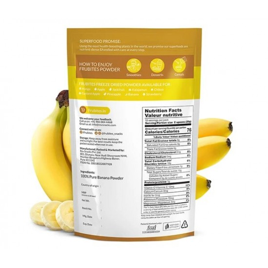 Freeze Dried Banana Powder 200 gms (Gluten-Free, Vegan)