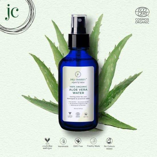 100% Organic Aloe Vera Water Toning Mist for Sun Damaged and Sensitive Skin 110 ml (Vegan)