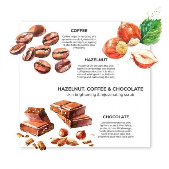 Hazelnut, Coffee and Chocolate Organic Hydrating Scrub, Mask for Normal to Dry Skin 75 gms (Vegan)