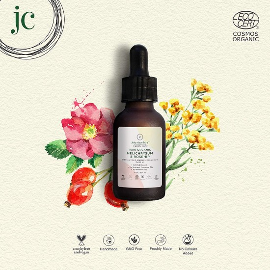 100% Organic Helichrysum and Rosehip Anti Scar and Pigmentation Facial Oil 10 ml (Vegan)