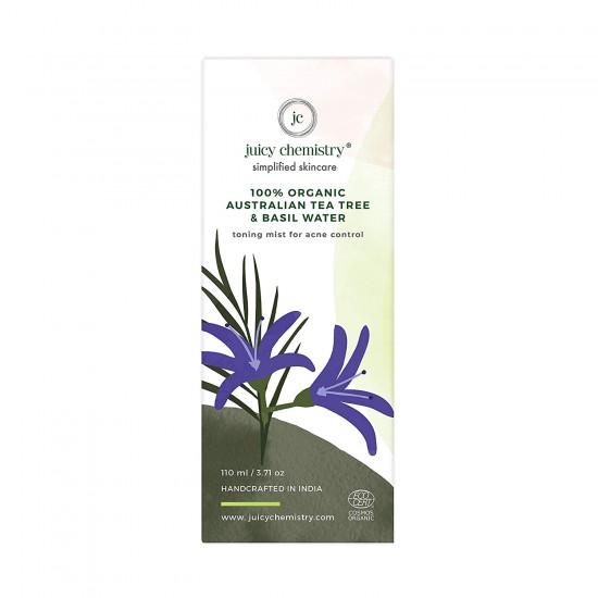 100% Organic Australian Tea Tree and Basil Water Toning Mist for Acne Control 110 gms (Vegan)