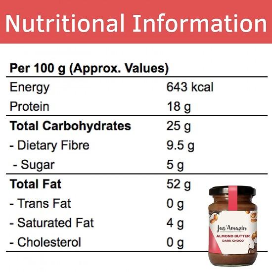 Almond Butter Dark Choco 125 gms (Gluten-Free, Vegan)