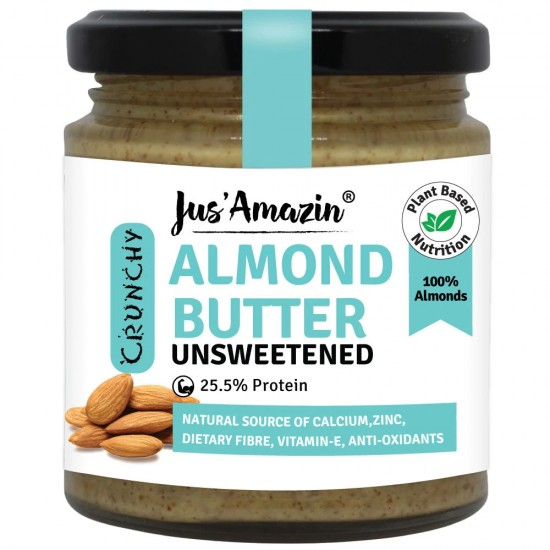 Almond Butter Unsweetened Crunchy 200 gms (Gluten-Free, Vegan)