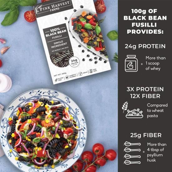 100% Black Bean Fusilli Pasta 200 gms (Gluten Free,Vegan)
