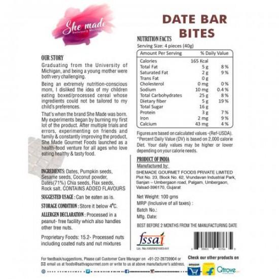 Dates Bar Bites 100 gms (Gluten-Free, Vegan)