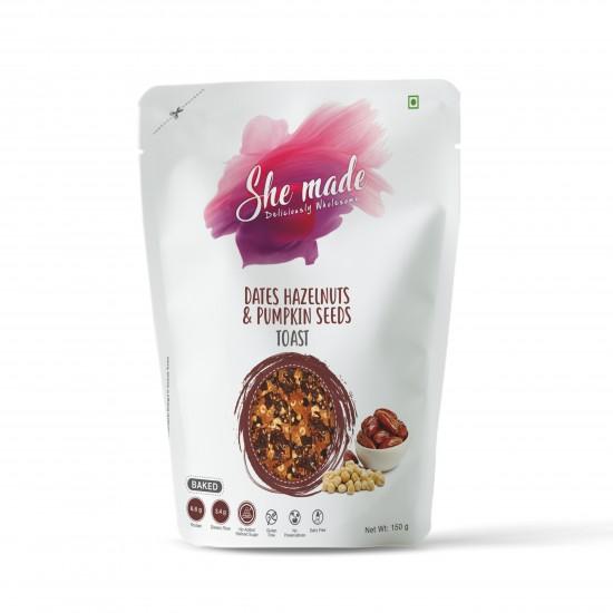 Dates Hazelnut and Pumpkin Seeds Toast 150 gms (Gluten-Free, Dairy-Free)