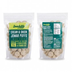 Cream and Onion Jowar Puffs 35 gms (Gluten Free)