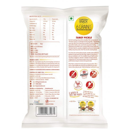 6 Grain Stix Tangy Pickle 85 gms (Gluten-Free, Roasted)