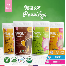Organic Porridge With 4 Flavours For 6+ Months Baby (Organic Rice Moong Dal, Organic Ragi, Organic Rice, Organic Rice Carrot) 400 gms