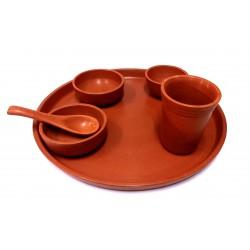 Clay Mitti Dinner Set ( 1 Thali, 1 Glass, 3 Bowl,
